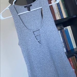 Heather Grey Ribbed Dress w front Cut Out